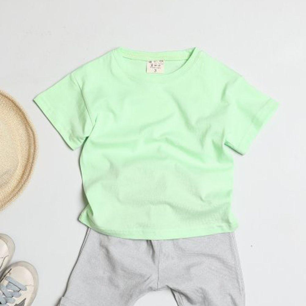 韓國製 - 水洗加工布糖果色純棉T-亮綠