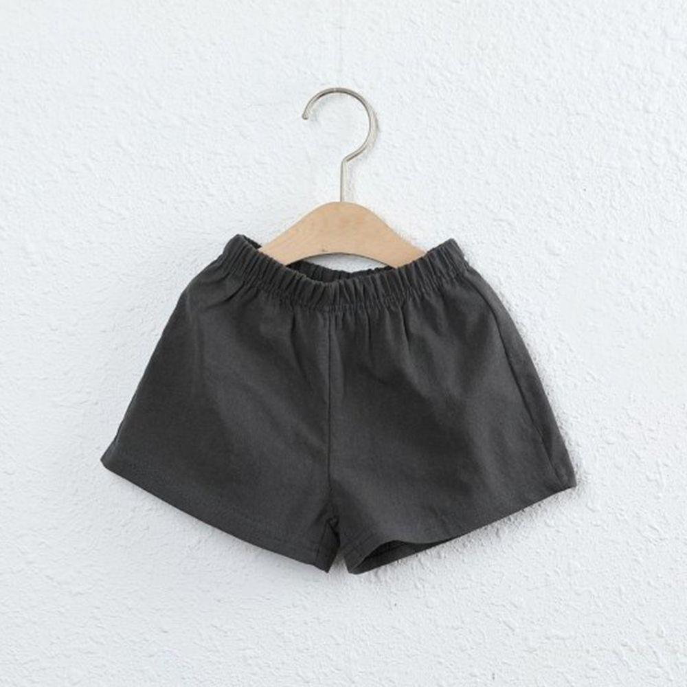韓國製 - 棉麻小短褲-深灰