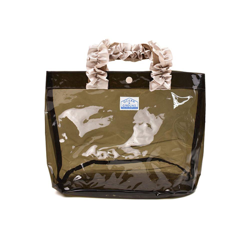 日本 OCEAN&GROUND - 透明PVC防水手提袋-緞帶度假風-灰黑 CH (27x33x20.5cm)