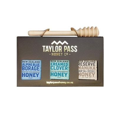 白金蜂蜜禮盒 (麥蘆卡UMF10+、琉璃苣、三葉草)-贈 實木蜂蜜棒(北美楓木)價值250元-375gm*3
