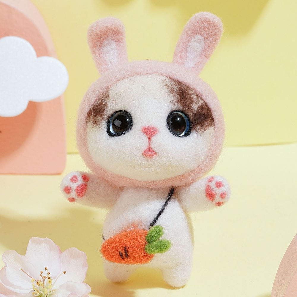 Diy療癒貓咪羊毛氈戳戳樂材料包-兔兔貓咪