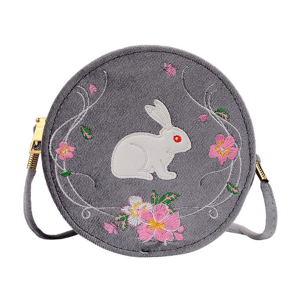 玉兔繁櫻絲絨小圓包-銀灰