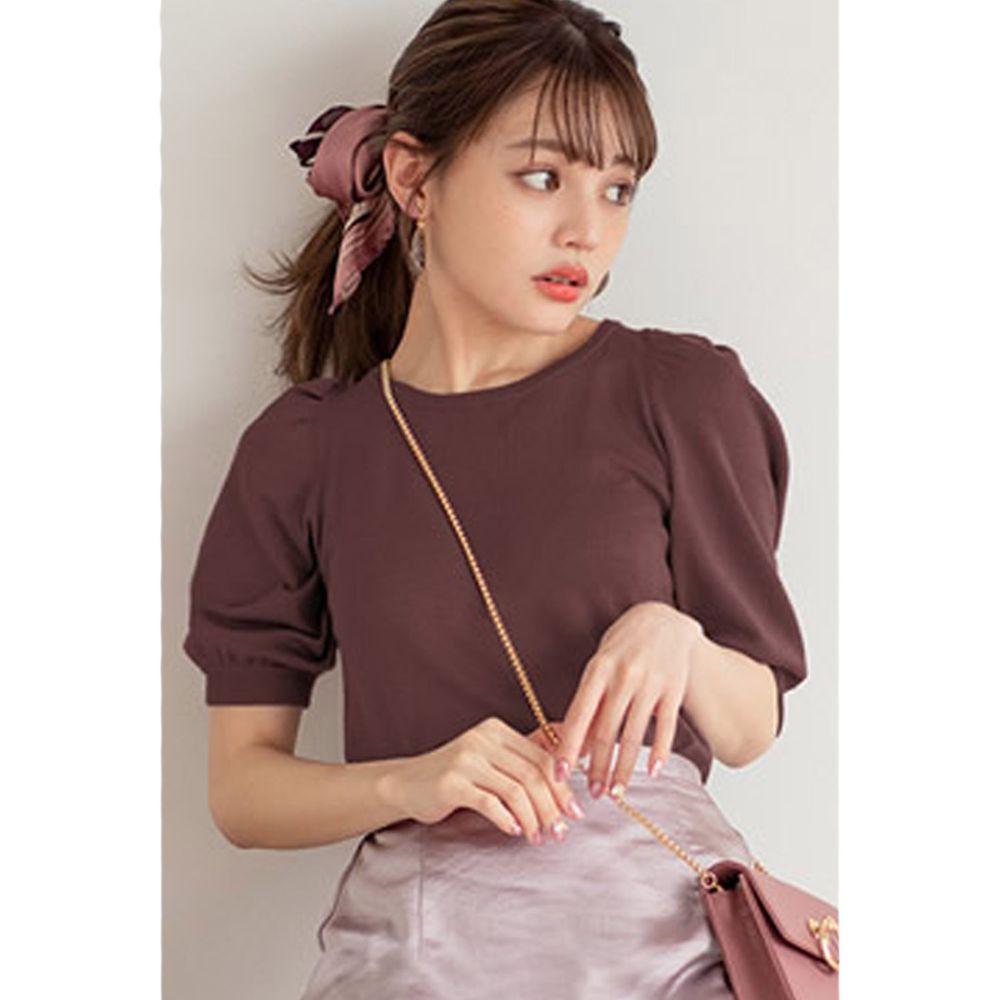 日本 GRL - 美背蝴蝶結綁帶針織五分袖上衣-深咖啡