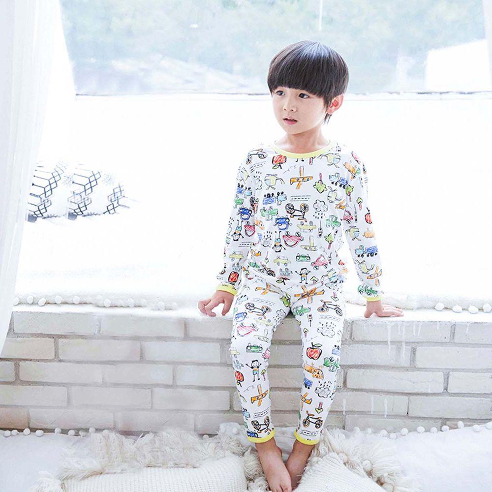 ZIHOU - 兒童秋季純棉居家服-交通工具