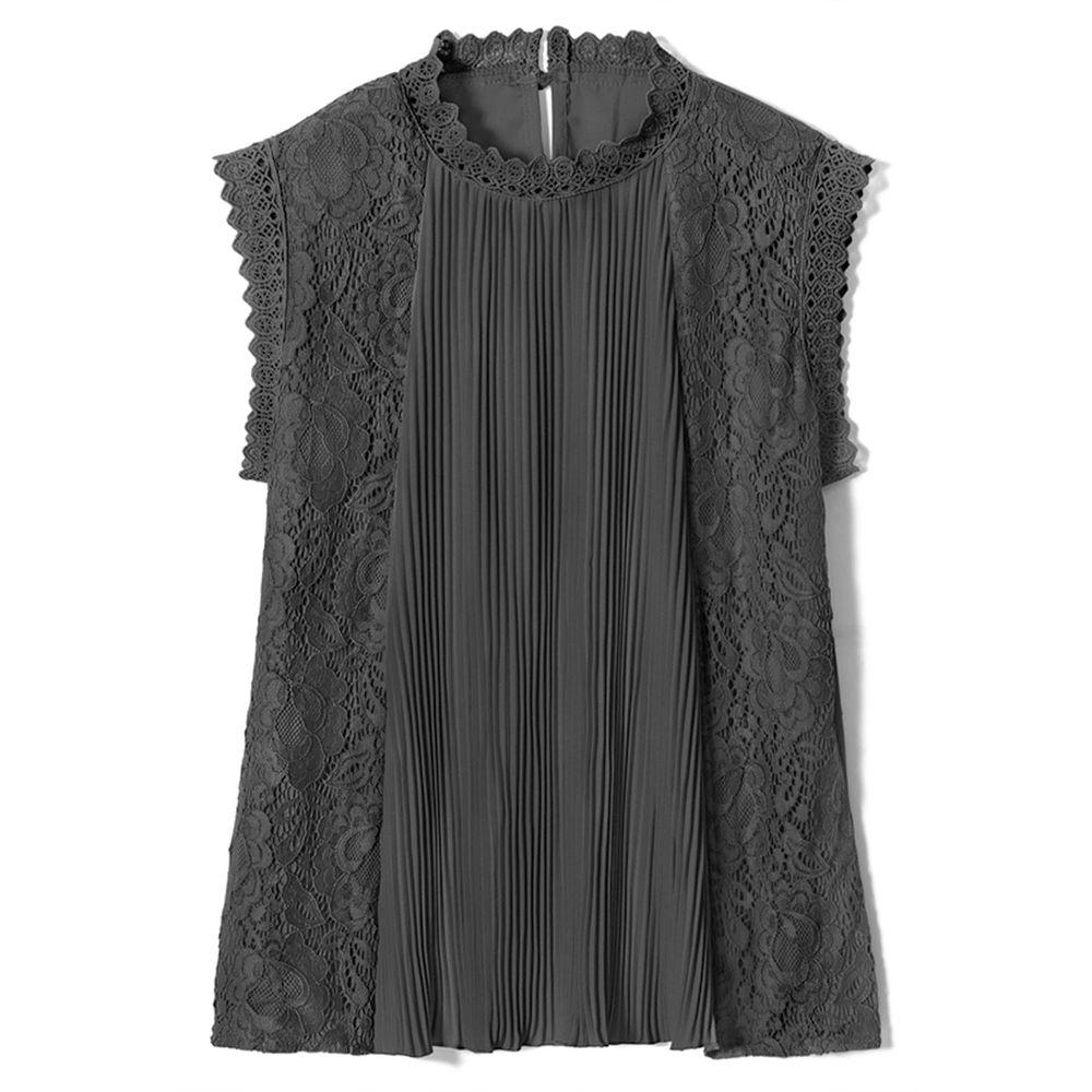日本 GRL - 氣質蕾絲羅紋拼接無袖上衣-時尚黑 (F)