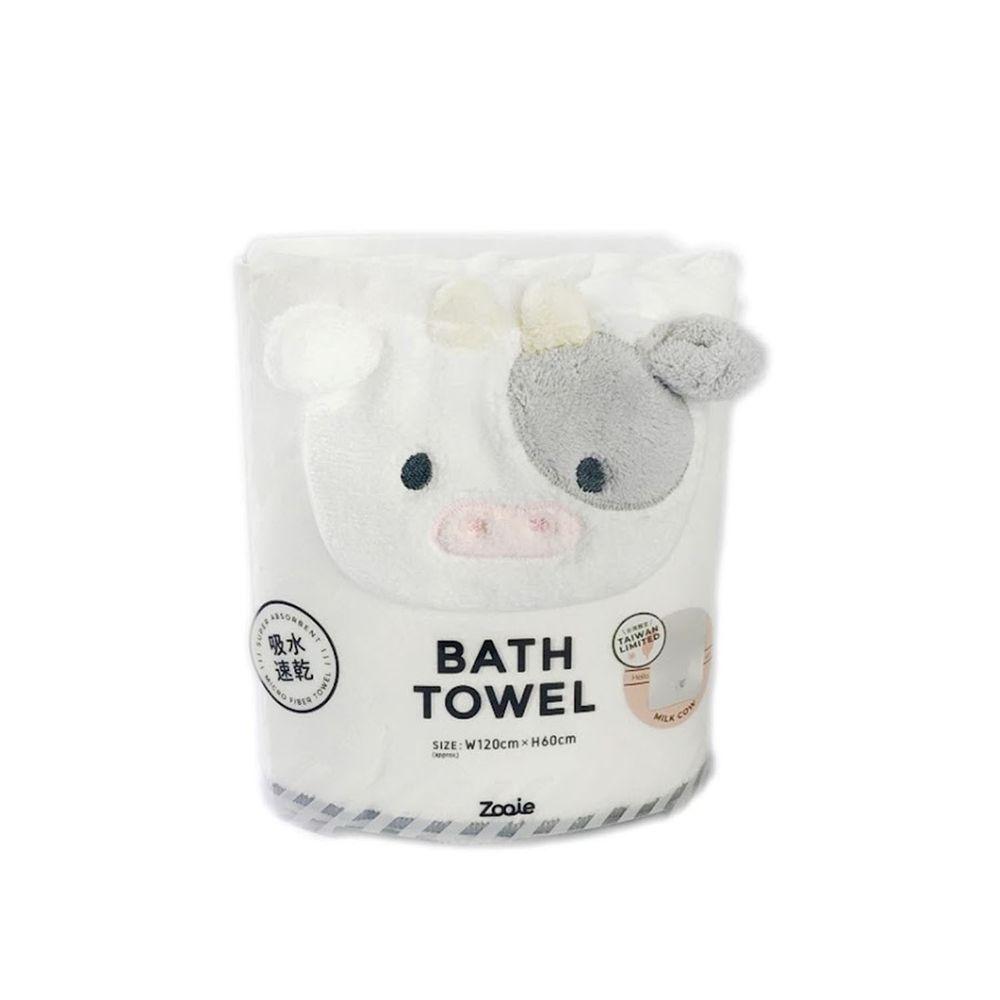 日本 CB JAPAN - 動物造型超細纖維浴巾-台灣限定-乳牛 (W1200 X H600mm)