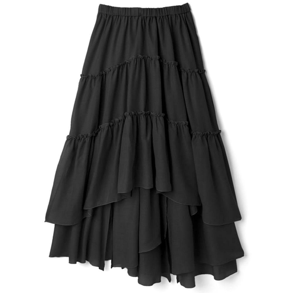 日本 GRL - 明星聯名款 多層次蛋糕長裙-時尚黑