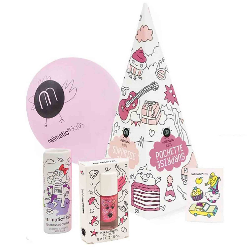 Nailmatic - 【媽咪愛獨賣組】Nailmatic 派對指甲油驚喜禮盒組(MLN)-閃粉紅-小美人魚指甲油8mlx1+紋身轉印貼紙x1+氣球x1+鉛筆色筆12色x1