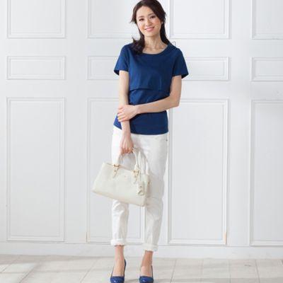 超人氣素色哺乳短袖T恤-藍色 (S)