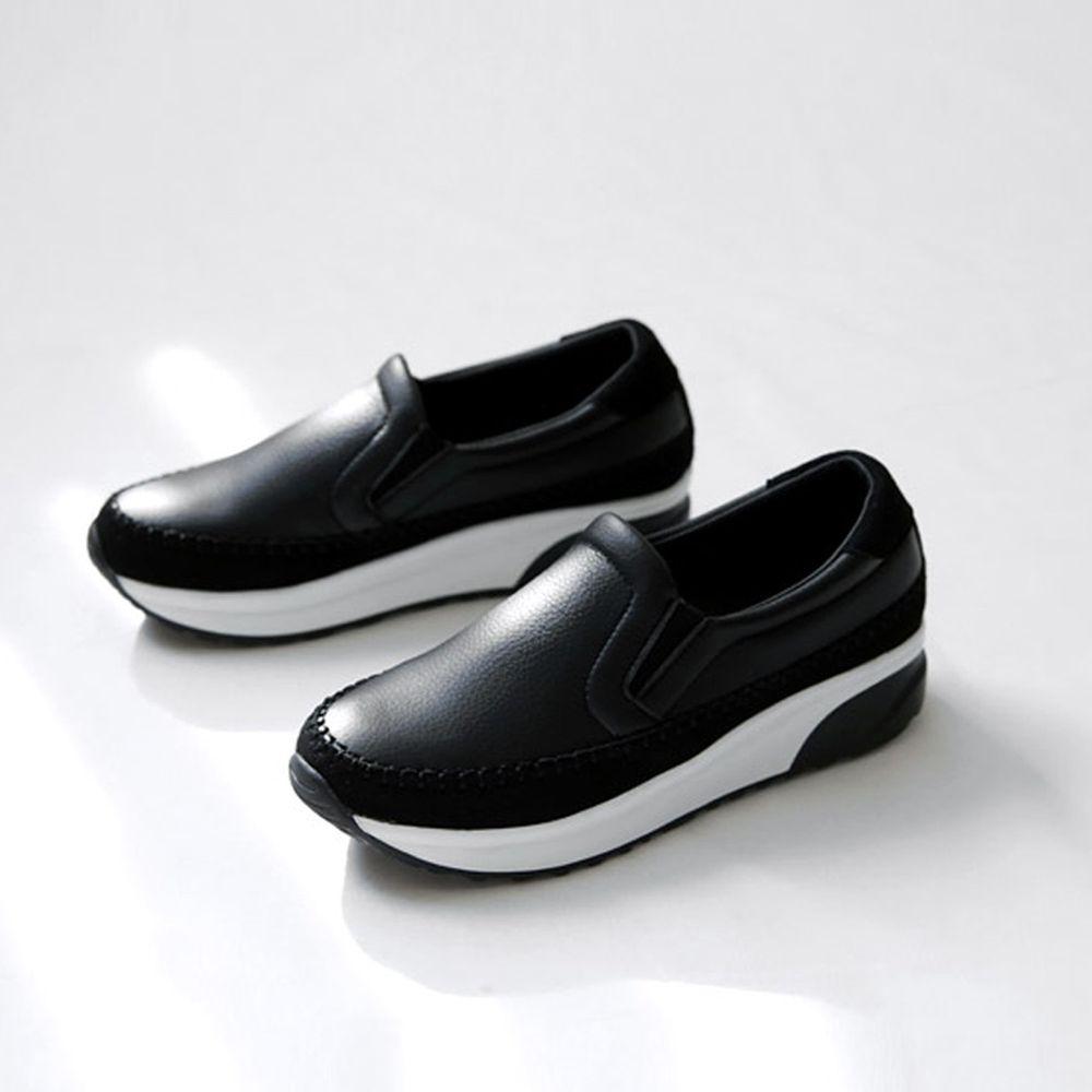 韓國 Dangolunni - 縫線皮革後底休閒鞋(3.5cm高)-黑