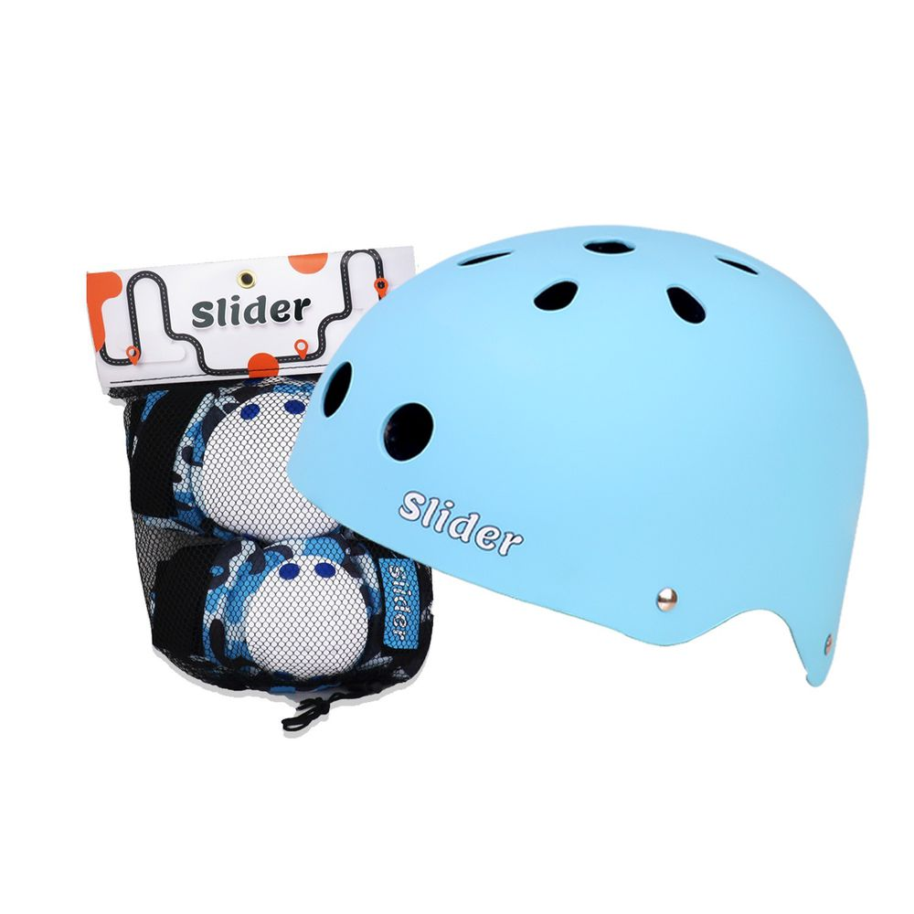 Slider 滑來滑趣 - 全套裝備護具組(頭盔+護肘+護膝)-藍色 (2-5歲)