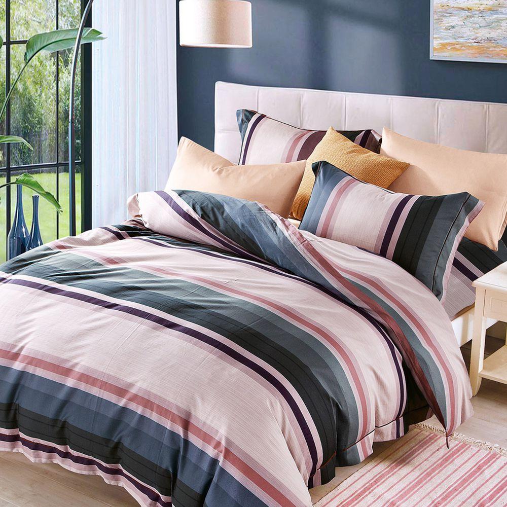 PureOne - 吸濕排汗天絲雙人四件式床包鋪棉被套組-阿洛伊 (150x186cm ±5%)-含床包+鋪棉兩用被套+枕套*2