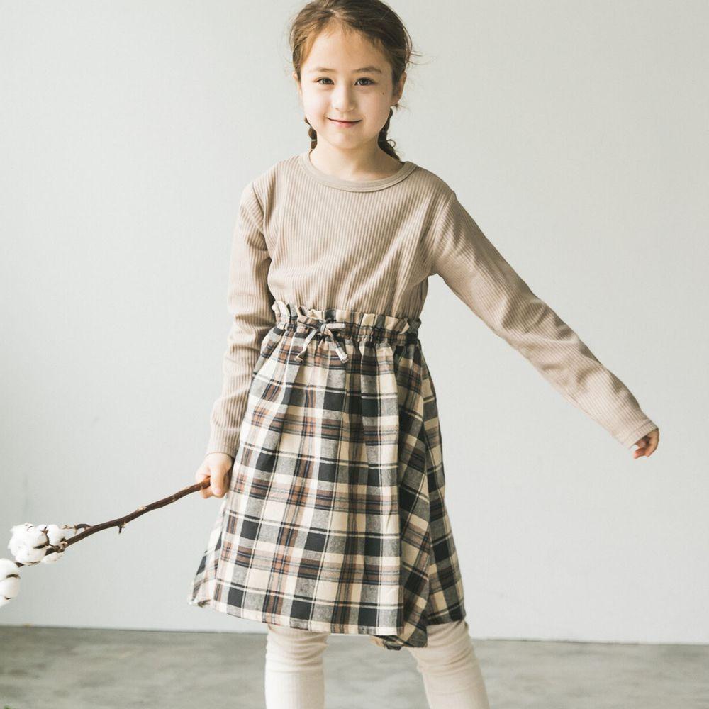 日本 PAIRMANON - 上下拼接鬆餅紋長袖洋裝-格紋-杏X咖啡