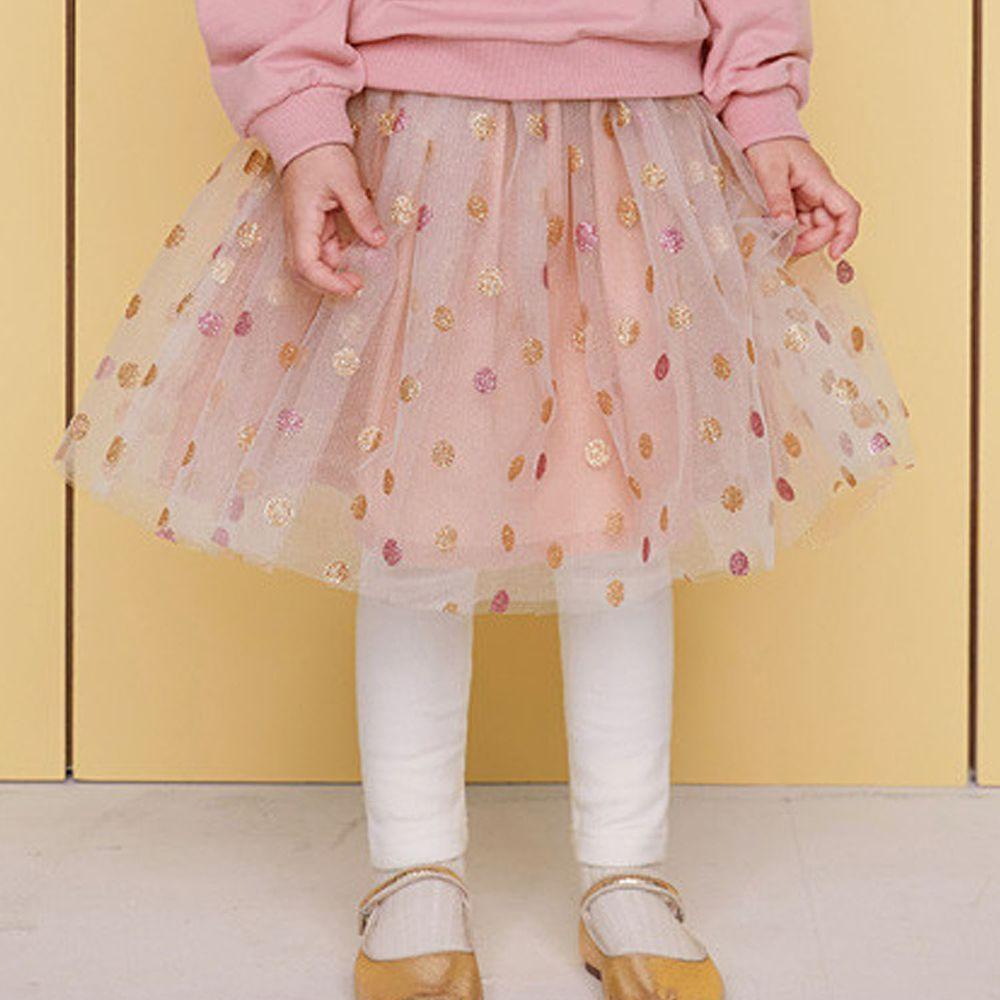 韓國 WALTON kids - 波點網紗褲裙-粉紅