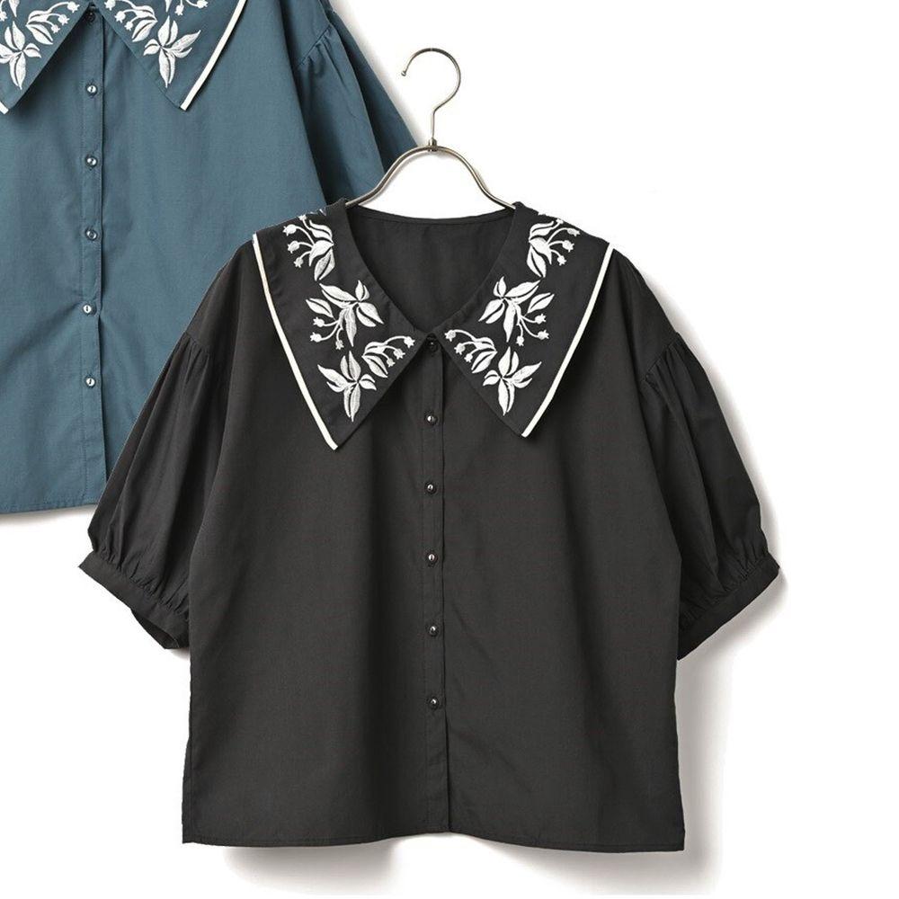 日本 ELENCARE DUE - 花草刺繡五分袖襯衫-黑