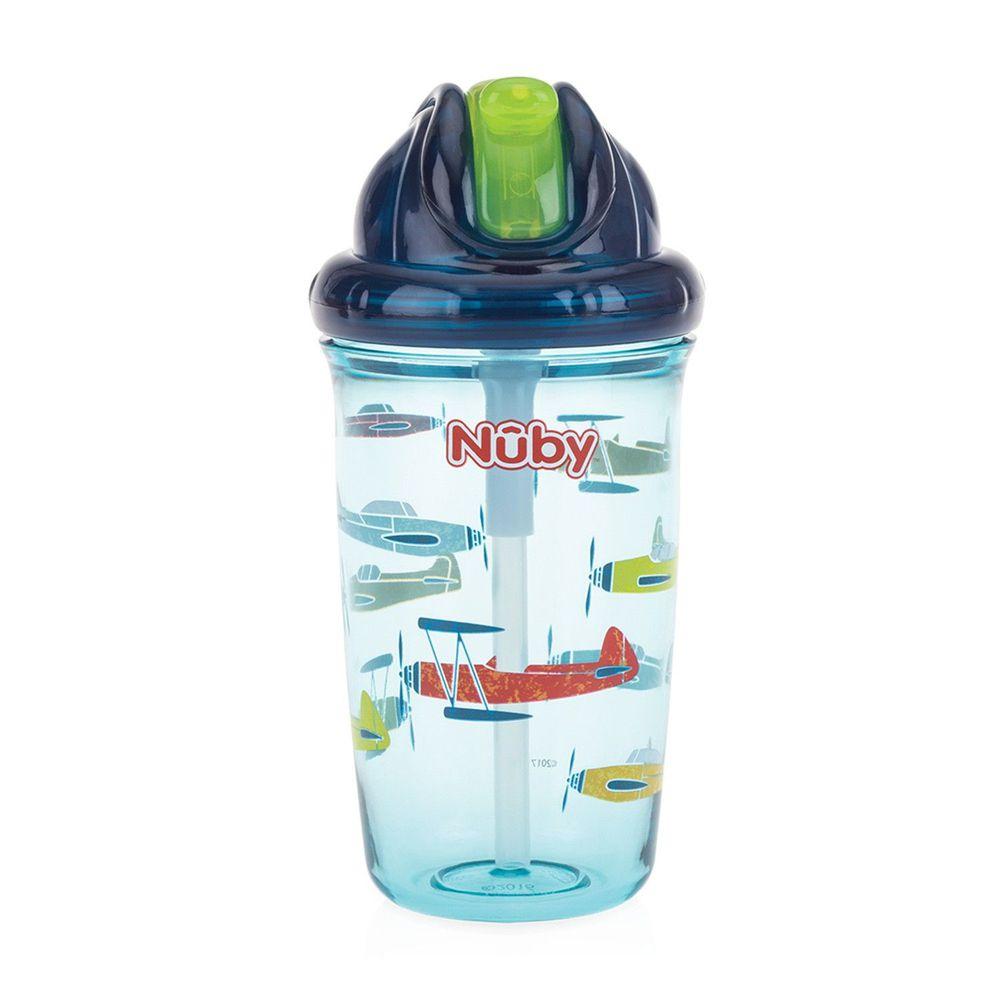Nuby - 晶透杯系列 防漏學飲杯-飛機-藍-300ml (細吸管)