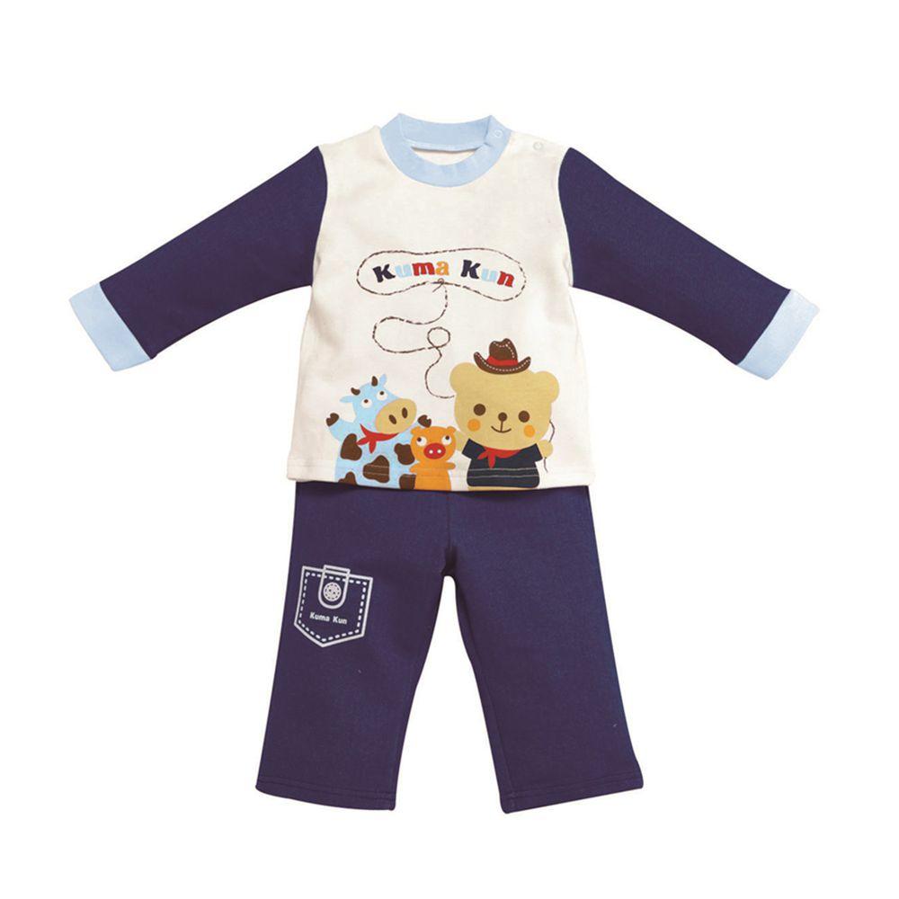 日本 Combi - 袖口配色套裝-小小牛仔-藍色