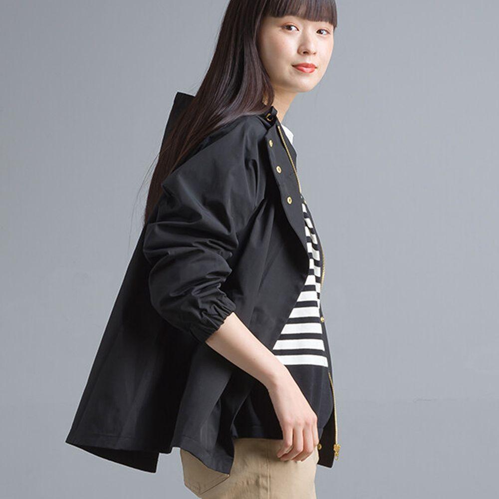 日本女裝代購 - 撥水加工機能風衣連帽外套-黑 (M)