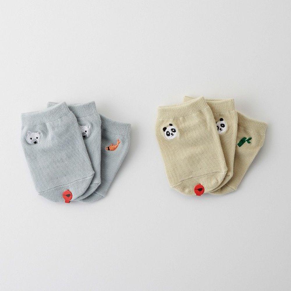 韓國 Kokacharm - 韓國製船型襪-2+1件組-Panda & Bear