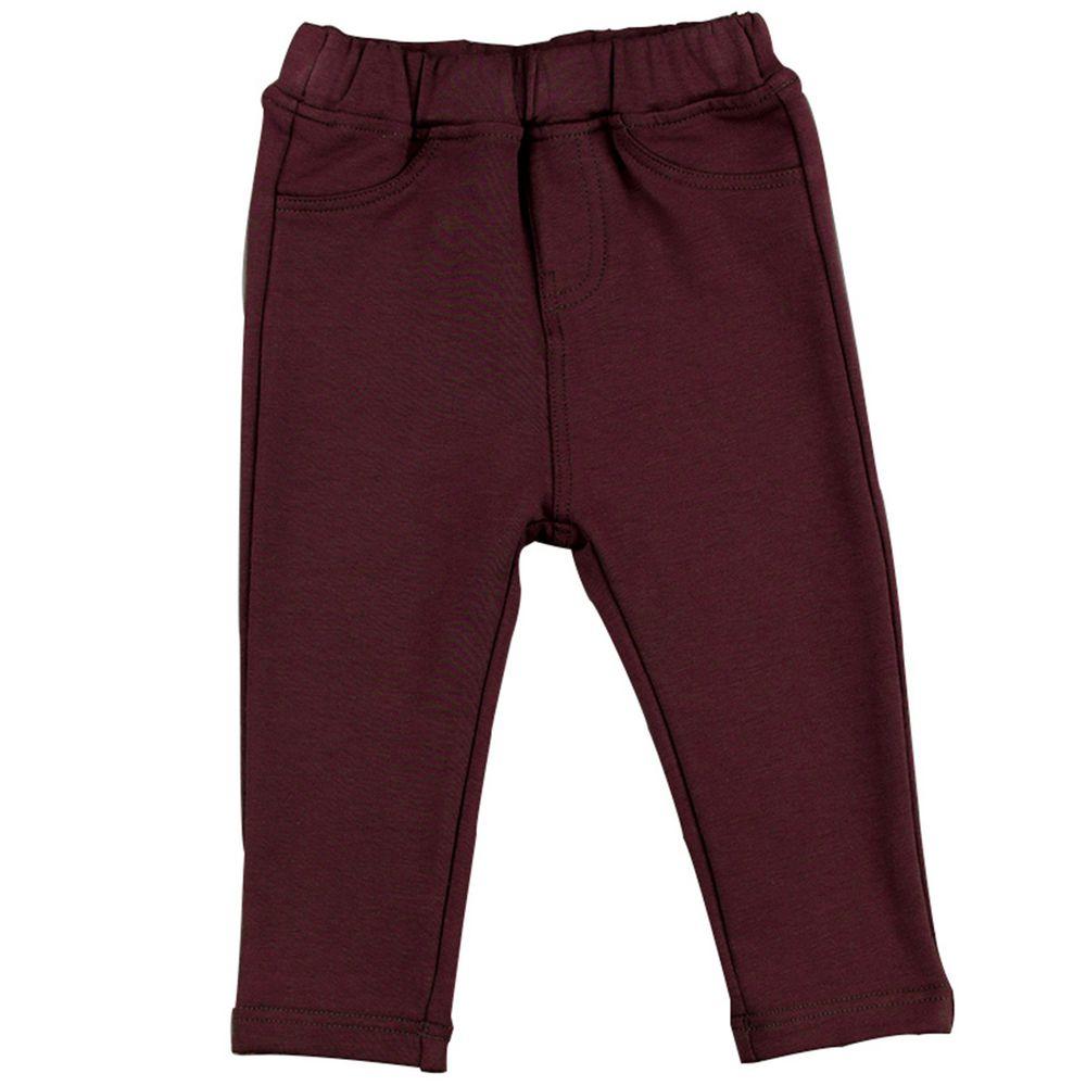 akachan honpo - 10分彈性長褲-素面-紅色