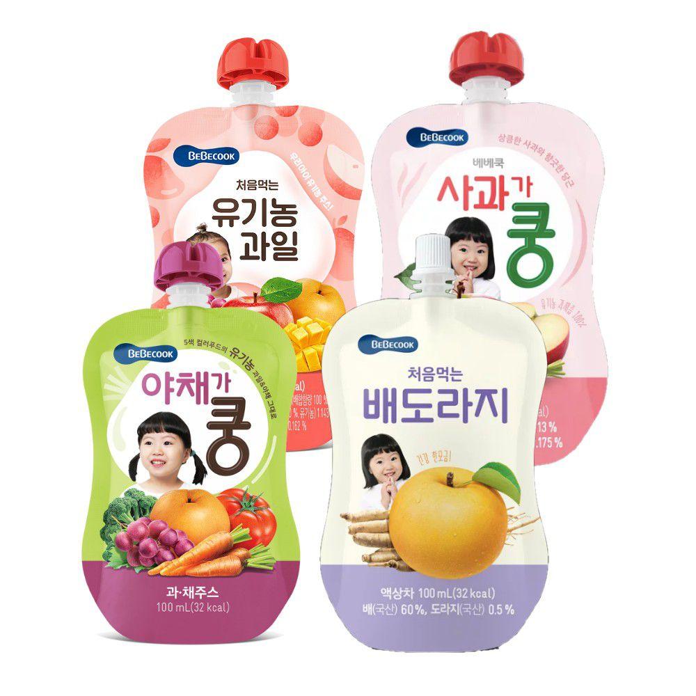 BEBECOOK 寶膳 - 智慧媽媽 嬰幼兒果汁全系列組-四入-桔梗雪梨汁12M*1+綜合果汁9M*1+綜合蔬果9M*1+蘋果紅蘿蔔7M*1