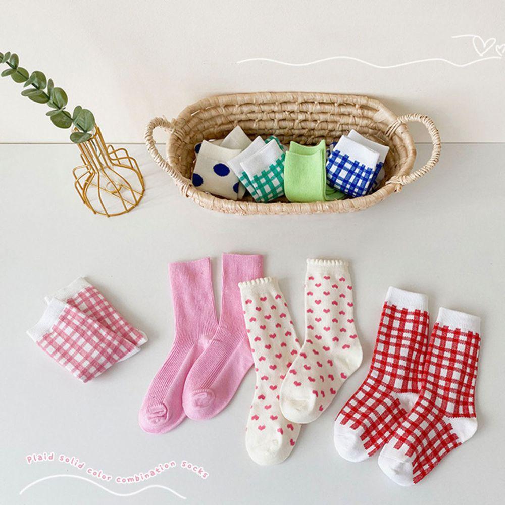 粉紅色格子愛心中筒襪 (4雙一組)