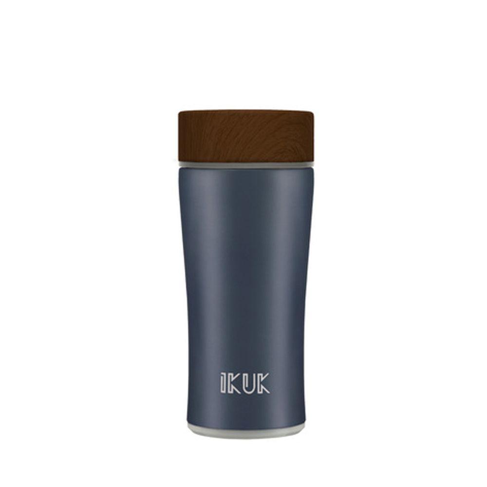 IKUK - 真空雙層內陶瓷保溫杯木簡約-午夜藍-360ML