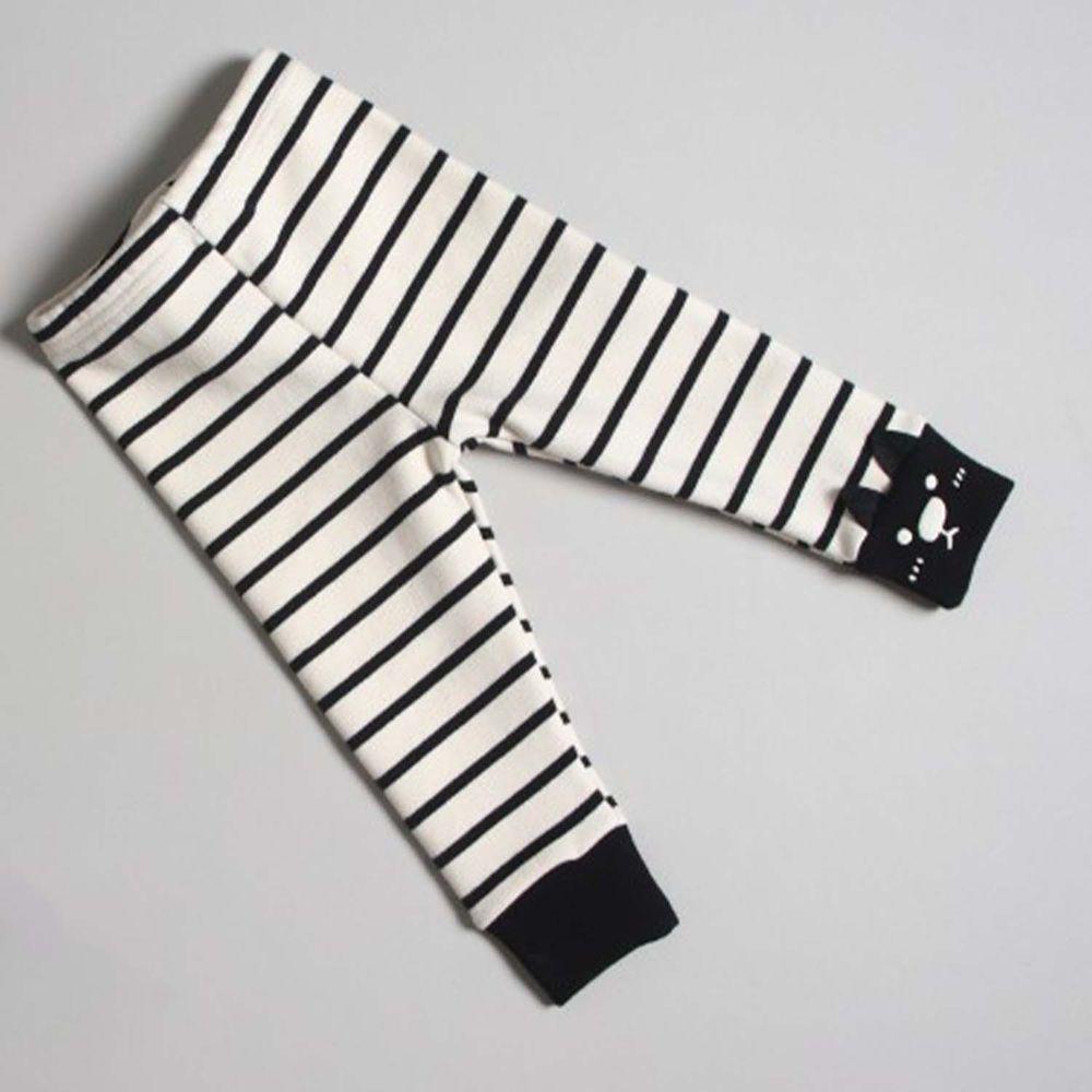韓國 First Blue - (裏起毛)小貓條紋內搭褲-黑
