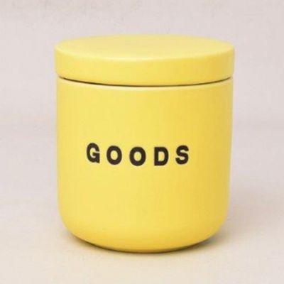 馬卡龍食材保存陶瓷罐-陽光黃-450ml