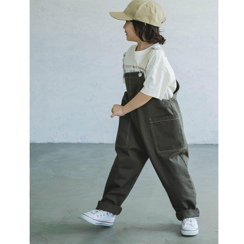 日本 PAIRMANON - 純棉雙口袋吊帶褲(孩子)-墨綠