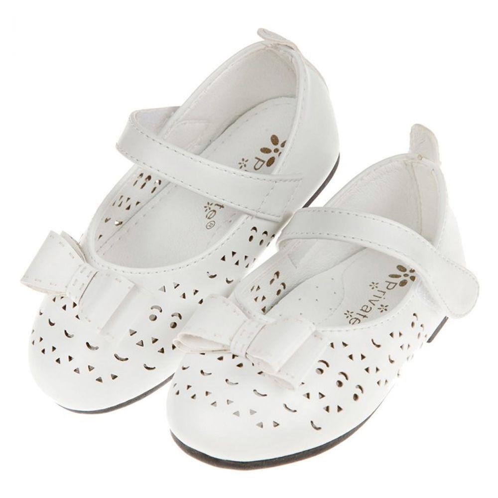 娃娃風雕花白色蝴蝶結寶寶公主鞋