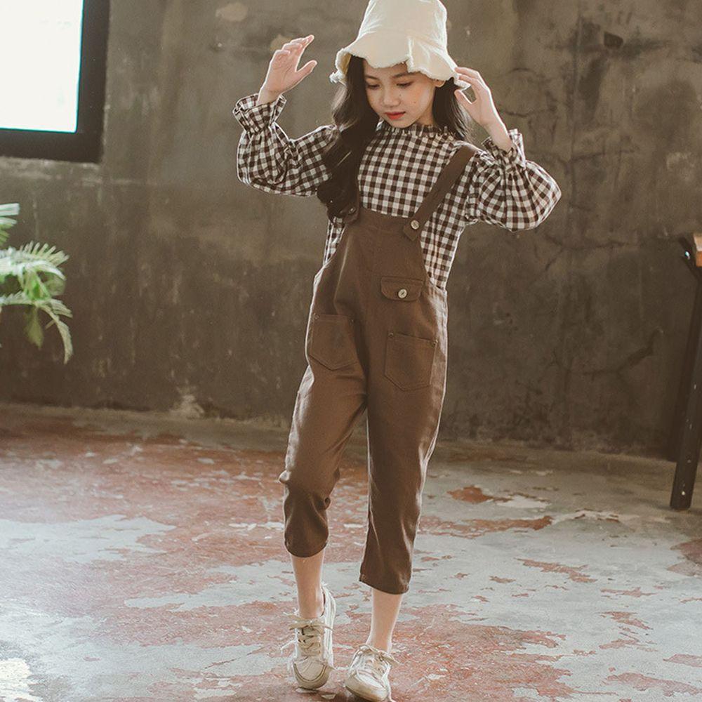 卡其格紋花袖吊帶褲-上衣+吊帶褲