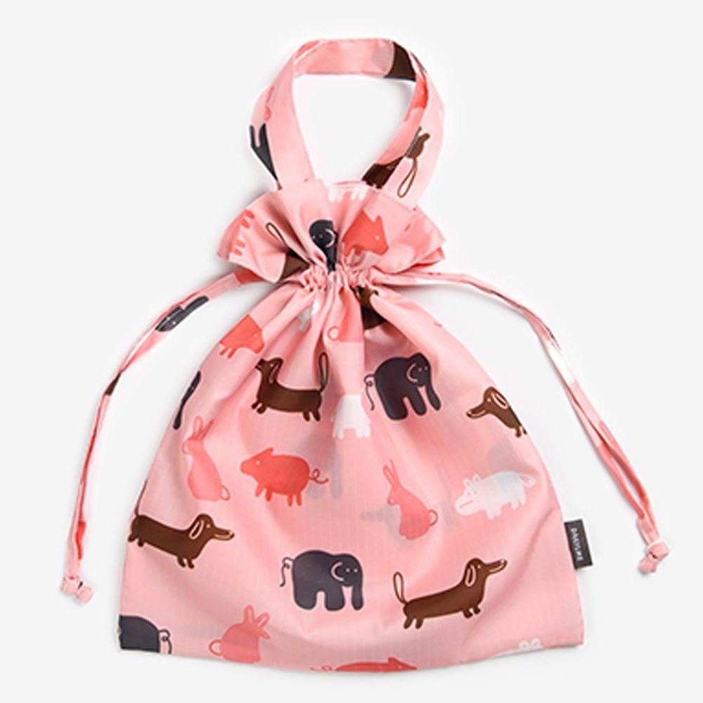 韓國製 - 束口環保袋/購物袋-粉紅動物園