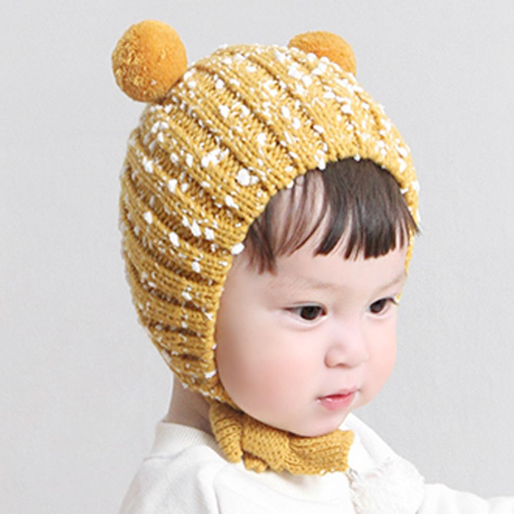 韓國 Babyblee - 雙球雪花鈕釦式針織毛線帽-芥末黃 (FREE)