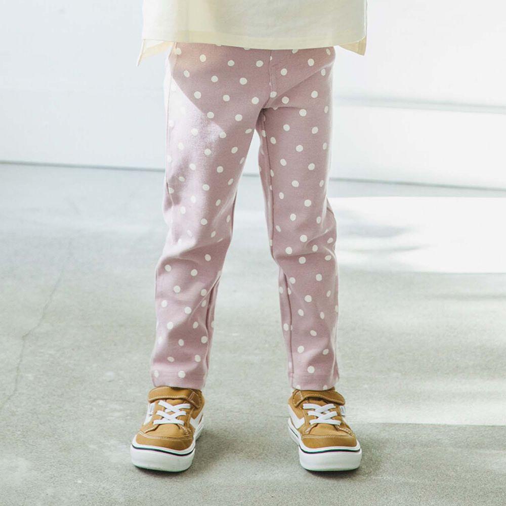 日本 PAIRMANON - 超彈性純棉長褲/內搭褲-點點-粉