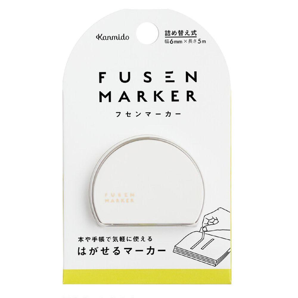 日本文具 Kanmido - 重複黏貼 螢光標記立可帶-綠