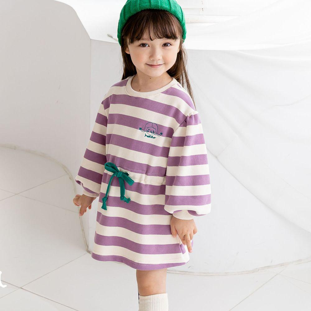 韓國 ERU - 縮腰條紋長版T-紫