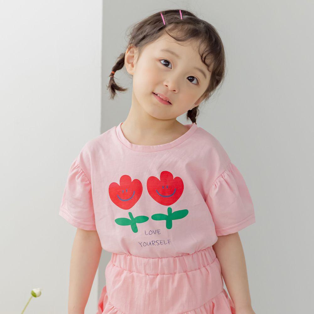 韓國 Orange Mom - 微笑鬱金香泡泡袖上衣-粉紅