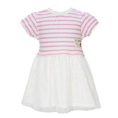 條紋拼接紗裙洋裝-粉紅