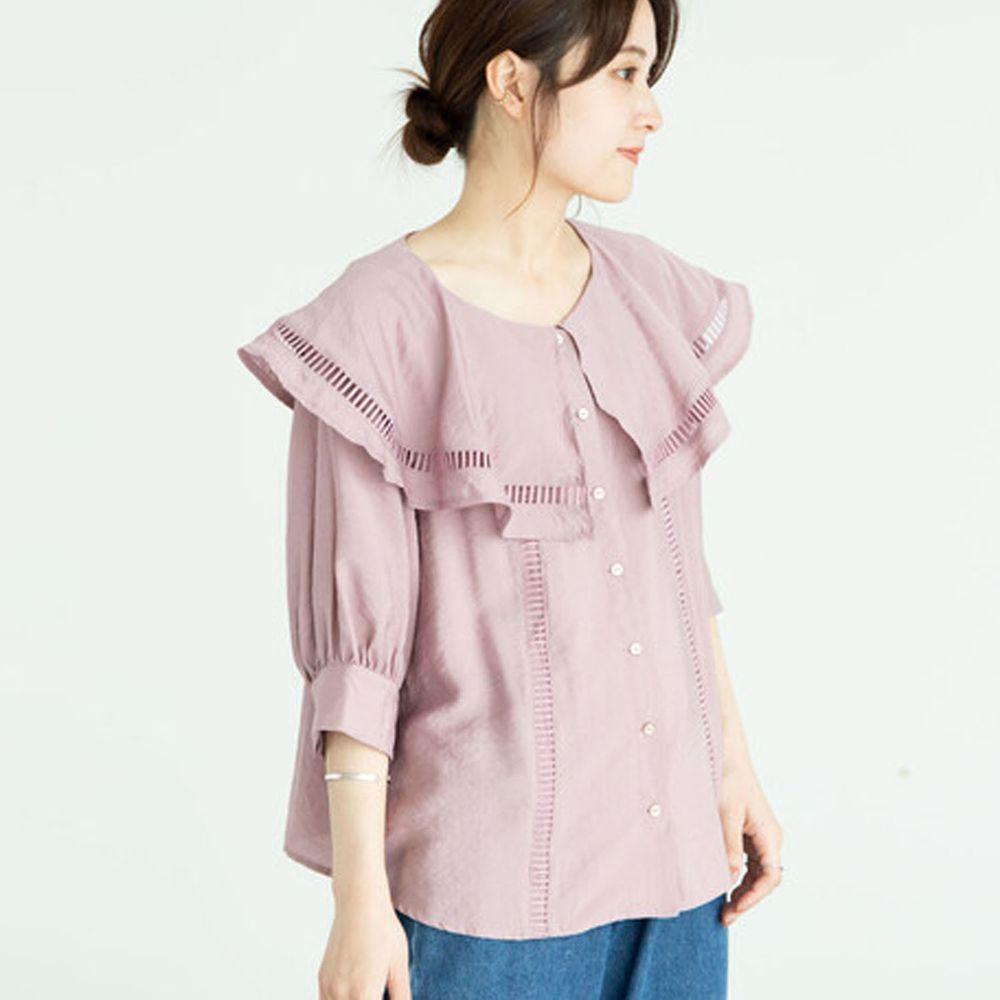 日本 ELENCARE DUE - 大荷葉鏤空領五分袖襯衫/外套-粉杏