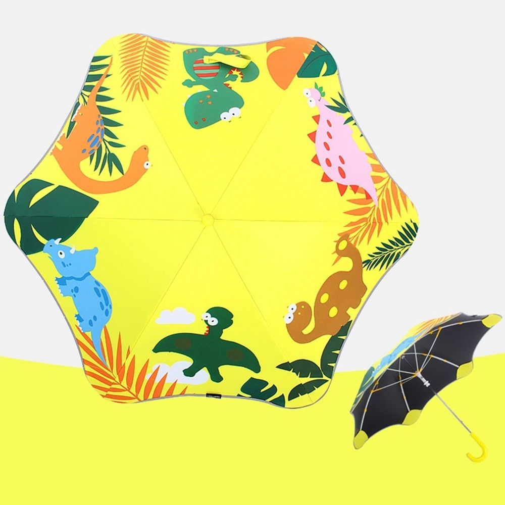 兒童圓角反光雨傘-恐龍-黃
