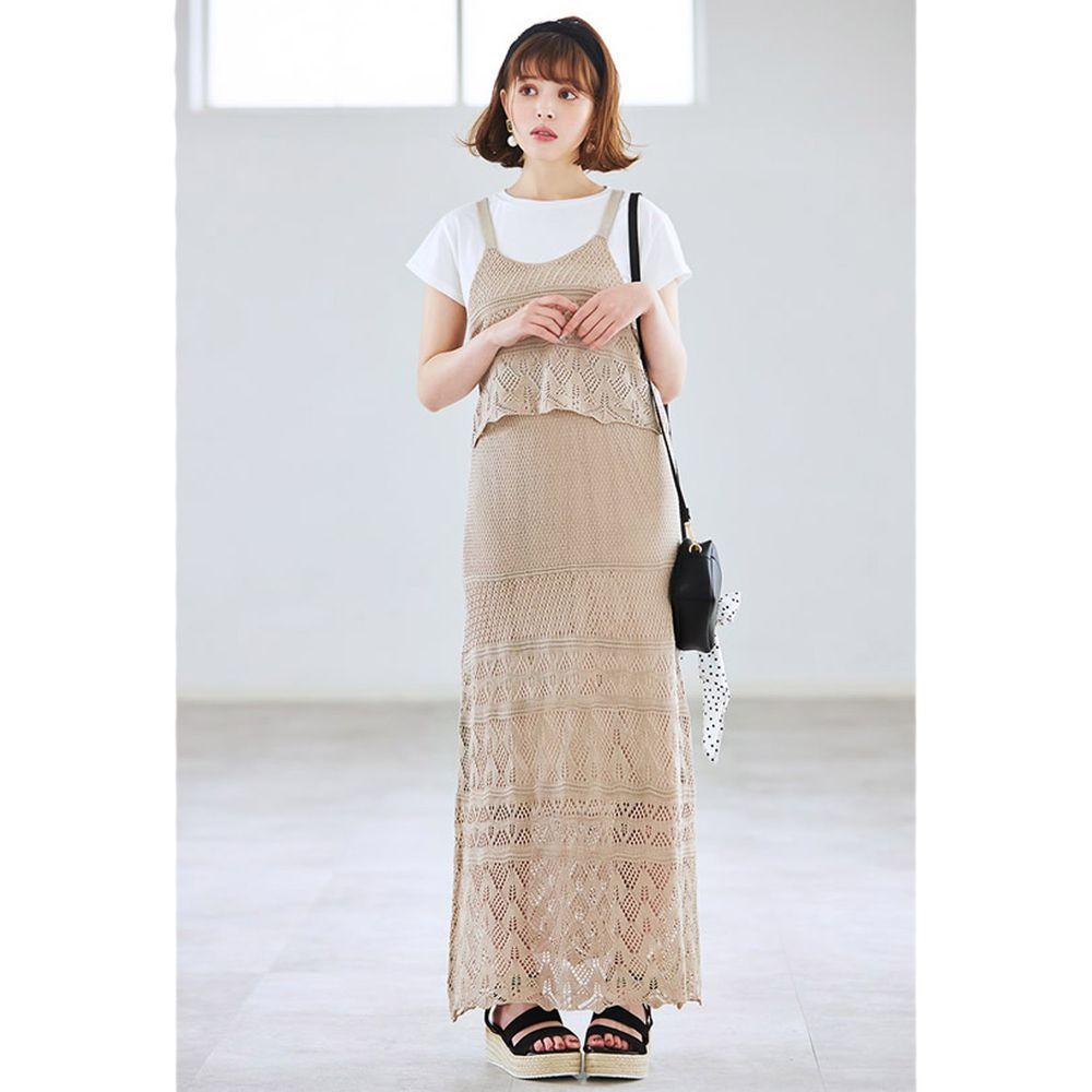 日本 GRL - 鏤空編織風白TX小背心X長裙三件組套裝-氣質杏
