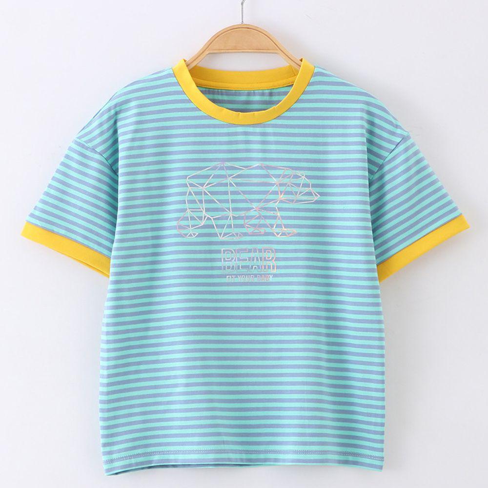 FitUrBabe - 彈力棉質短袖上衣-條紋小熊-綠色