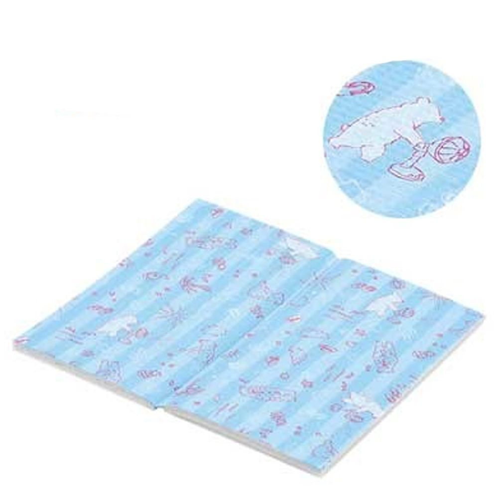 日本 Pearl 金屬 - 單人輕便折疊野餐坐墊(2入組)-北極熊-水藍 (36x32cm)