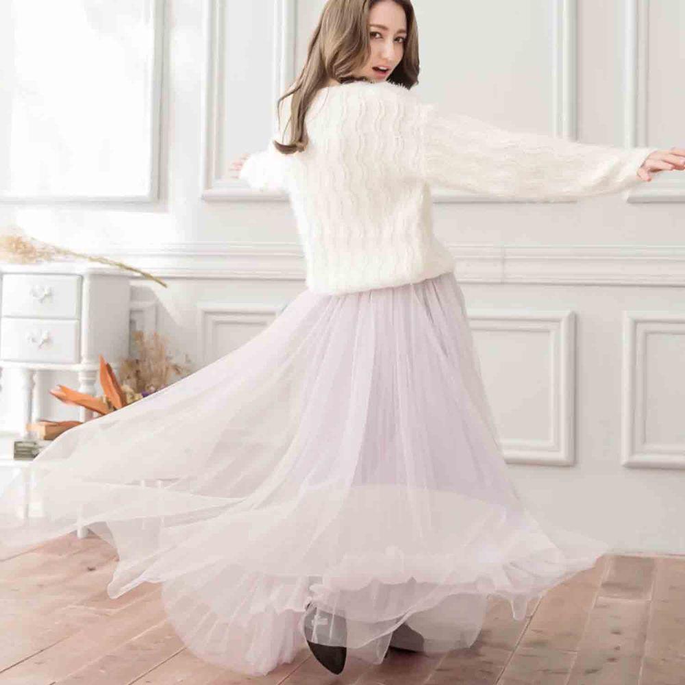 Peachy - 獨家訂製綿柔法式浪漫三層蓬紗裙-三層蓬版-淺芋灰 (F)
