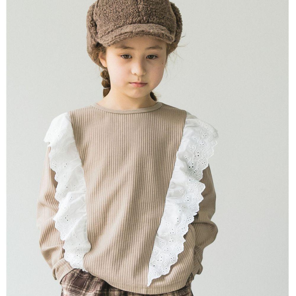 日本 PAIRMANON - 雙荷葉蕾絲撞色拼接鬆餅紋長袖上衣-灰杏