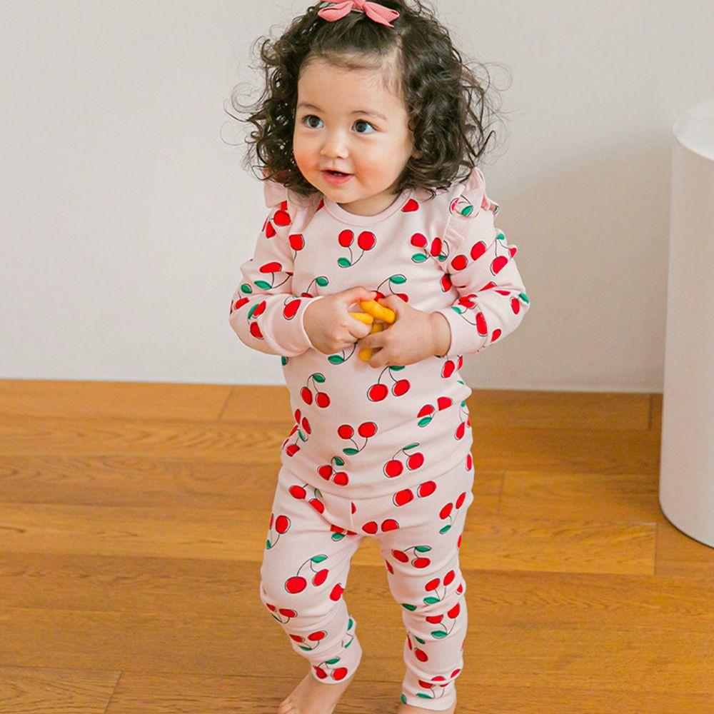 韓國 Cordi-i - 桃皮絨長袖家居服-甜甜櫻桃-粉紅
