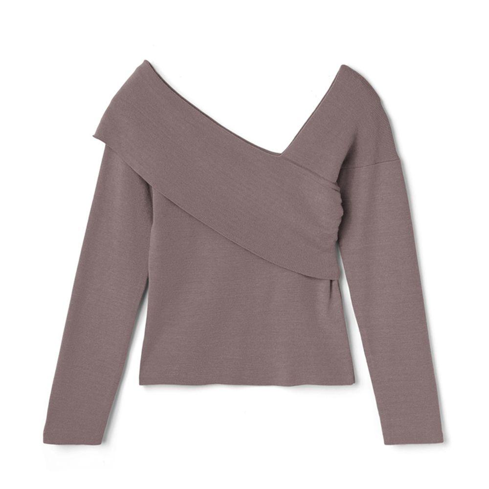 日本 GRL - 性感露肩斜口針織上衣-摩卡棕