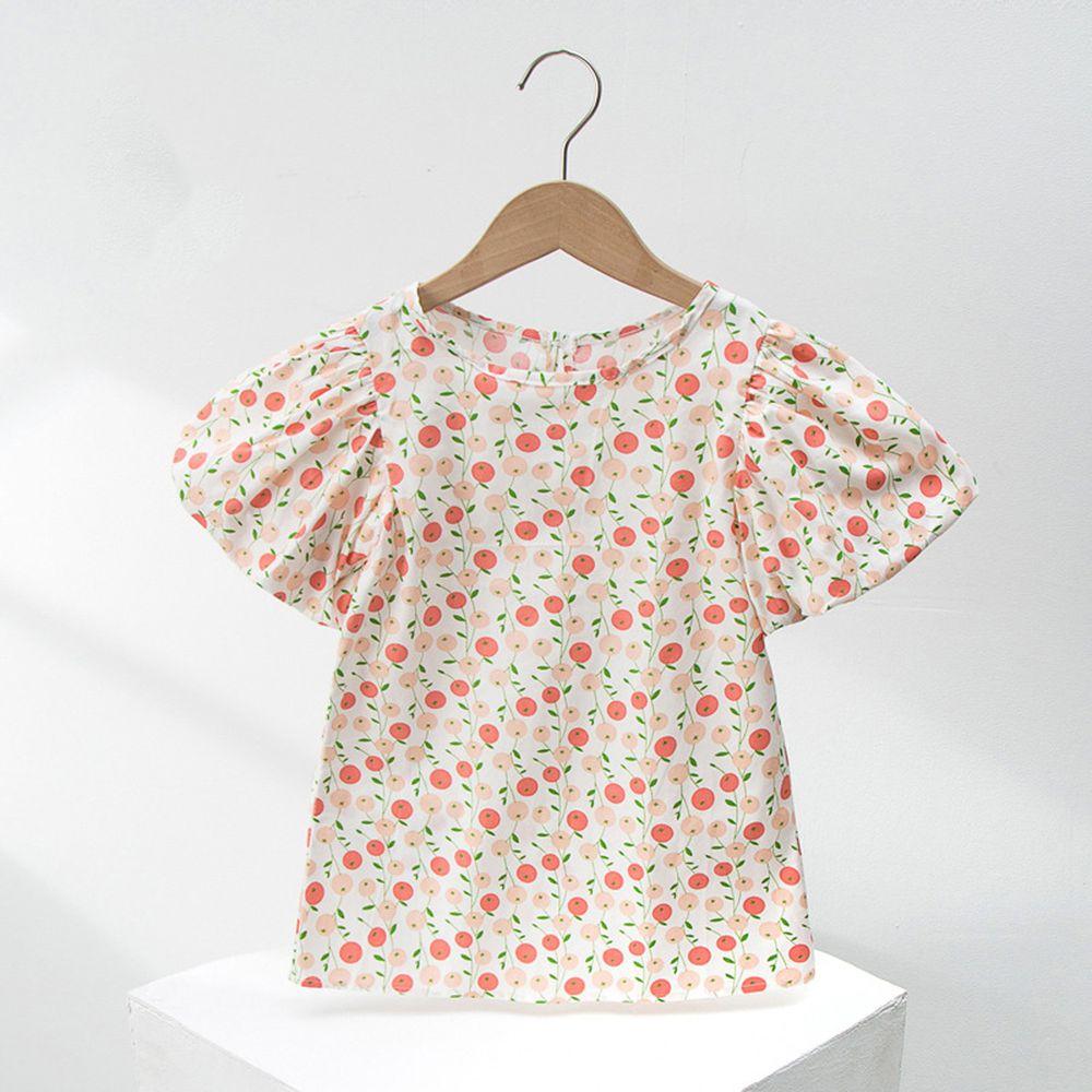 澎澎燈籠袖純棉洋裝-粉色櫻桃