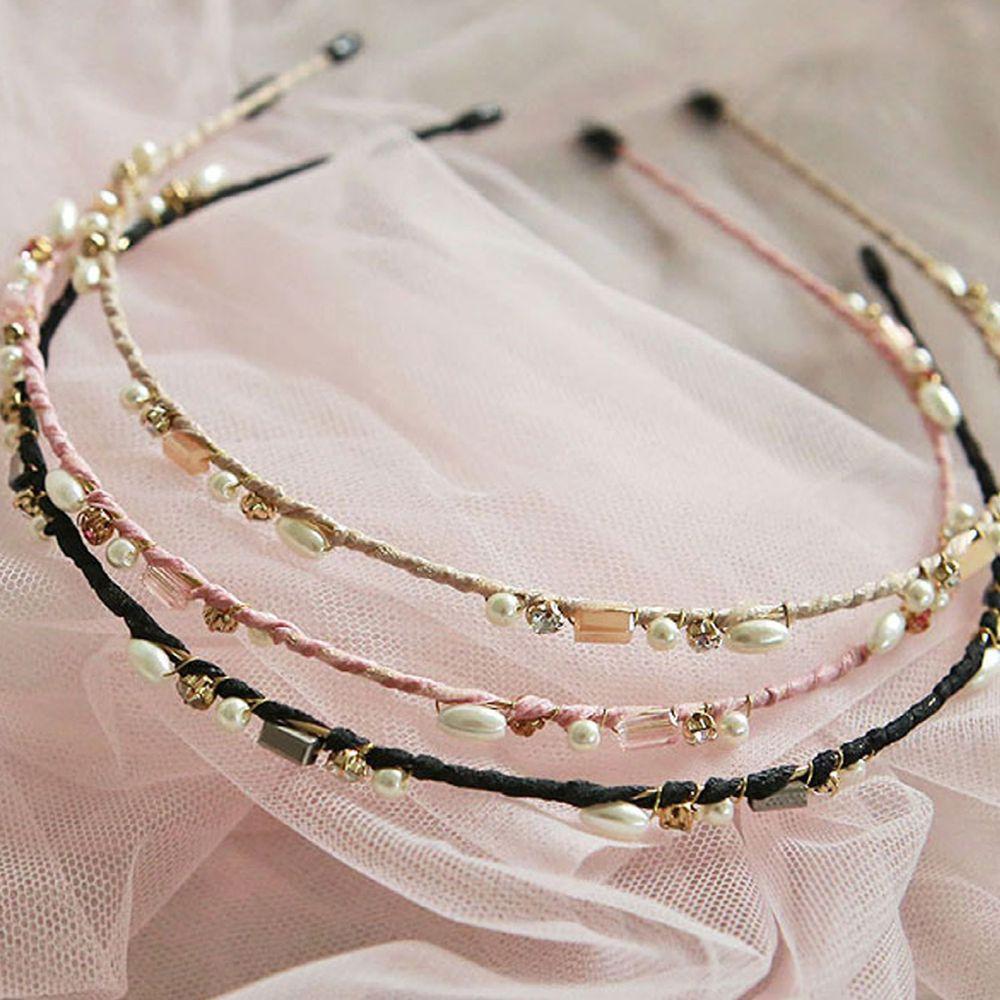韓國 PuellaFLO - 珍珠點綴髮箍-粉紅